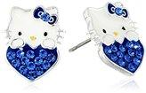 Hello Kitty Girls September Crystal Birthstone Heart Stud Earrings