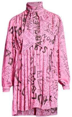 Balenciaga Grafitti-Print Tieneck Babydoll Dress