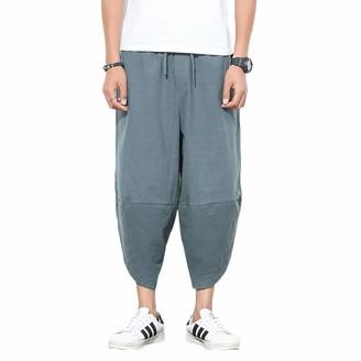 MakingDa Men's Cotton Loose Lounge Harem Pants with Drawstring Large Size Home Wide Leg Trousers Baggy Comfortable Pajamas Bottom Yoga Pilates Dance-Grey-XL
