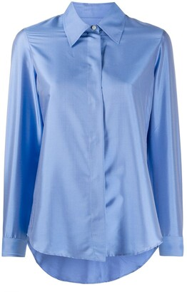 Alberto Biani Pointed Collar Silk Shirt