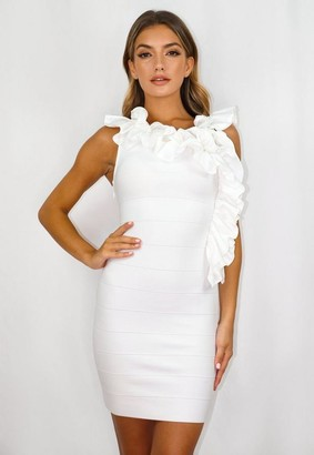 Missguided White Bandage Ruffle Low Back Mini Dress