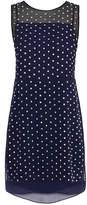 Diane von Furstenberg Abriela Navy Embellished Silk Dress