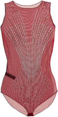 I.D. Sarrieri Crystal-embellished Stretch-tulle Bodysuit
