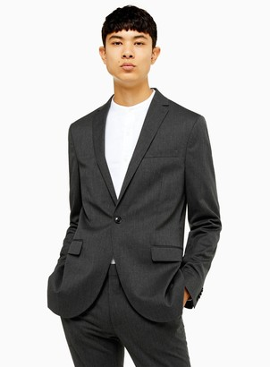 Topman Charcoal Grey Super Skinny Fit Single Breasted Suit Blazer With Notch Lapels