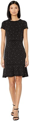 MICHAEL Michael Kors Flower Hem Top Flounce Dress (Black) Women's Dress
