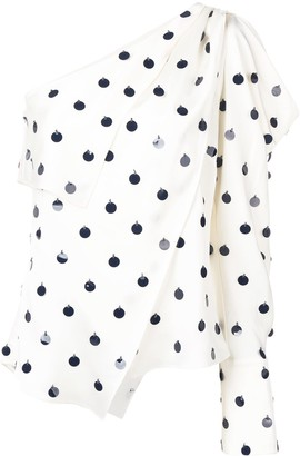 Monse Asymmetric Embroidered Dot Top
