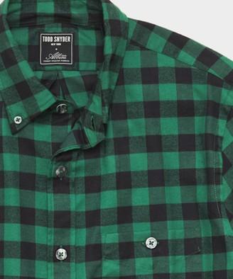 Todd Snyder Thomas Mason Buffalo Check Brushed Twill Shirt in Green