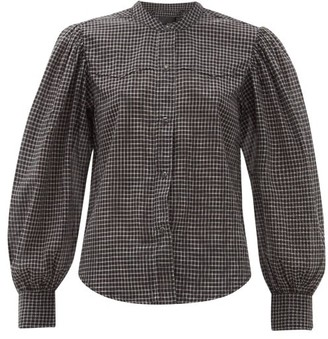 Nili Lotan Maisie Balloon-sleeve Checked Cotton Shirt - Womens - Black White