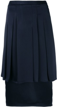 Chalayan Pleated-Layer Pencil Skirt