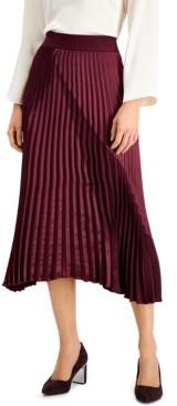 Alfani Plus Size Mixed-Media Pleated Midi Skirt, Created for Macy's