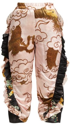By Walid Sissy Antique Silk Trousers - Womens - Pink Multi