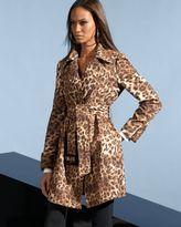 Belted Leopard Print Trench Coat & 5-Pocket Skinny Ponte Pants