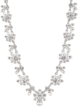 """Givenchy Silver-Tone Crystal Collar Necklace, 16"""" + 3"""" extender"""