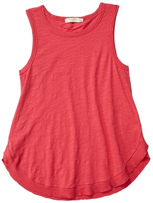 Mod-o-doc Slub Jersey Tank with Rib Curved Hem (Azalea) Women's Clothing
