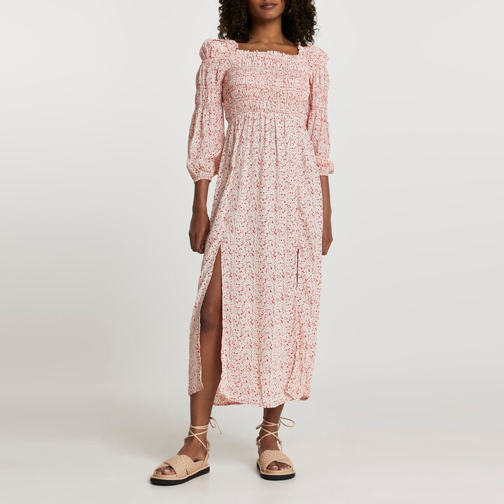 Thumbnail for your product : River Island Womens Red puff sleeve shirRed maxi dress