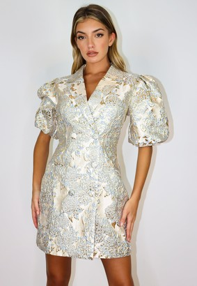 Missguided Blue Brocade Puff Sleeve Blazer Dress