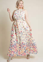 Illuminated Elegance Chiffon Maxi Dress in Ivory in 1X - Sleeveless A-line by ModCloth