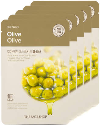 The Face Shop 5Pc Real Nature Olive Face Mask - Skin Purifying