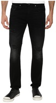 7 For All Mankind Paxtyn Skinny w/ Clean Pocket in Destroyed Black