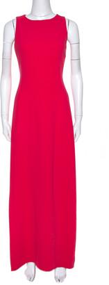 Max Mara Coral Pink Cady Sleeveless Rubino Maxi Dress S