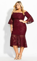 City Chic Laced Fox Dress - merlot