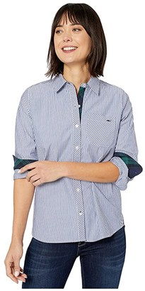 Vineyard Vines Blackwatch Stripe Relaxed Button-Down (Ocean Reef) Women's Clothing