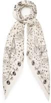 Alexander McQueen Party Skull-print silk-blend scarf