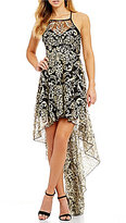 Xtraordinary Embroidered Metallic Lace High-Low Dress