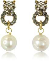 Alcozer & J Small Panthers Goldtone Brass w/Glass Pearls Drop Earrings