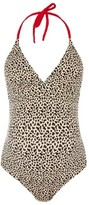 Topshop Women's Leopard Halter Maternity One-Piece Swimsuit