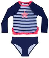 Hula Star Toddler Girl's Retro Stripe Two-Piece Rashguard Swimsuit