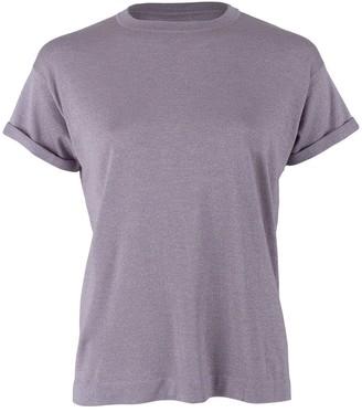 Brunello Cucinelli Wisteria Short Sleeve Cashmere Silk Lurex Top