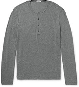 James Perse - Slim-fit Mélange Cotton And Linen-blend Henley T-shirt