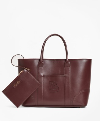 Brooks Brothers Logo-Embellished Leather Tote Bag