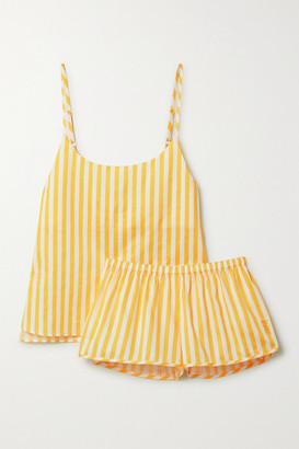 Les Girls Les Boys Striped Cotton-sateen Pajama Set - Yellow