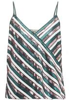 Diane von Furstenberg Agnes Sequin-striped Silk Top - Womens - Green Multi