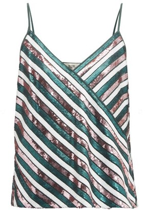 Diane von Furstenberg Agnes Sequin-striped Silk Top - Womens - Green Multi
