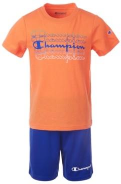 Champion Little Boys 2-Pc. Fade Logo Script T-Shirt & Logo Shorts Set