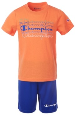 Champion Toddler Boys 2-Pc. Fade Logo Script T-Shirt & Logo Shorts Set