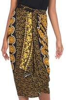 Deer and Elephant Floral Pattern Sequined Rayon Sarong, 'Sun and Sand'