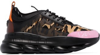 Versace Chain Reaction panelled leopard-print sneakers