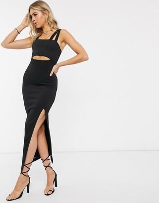 Asos Design DESIGN double strap square neck maxi dress with cut out detail-Black