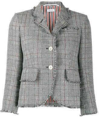 Thom Browne Check Print Cropped Jacket