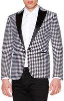 DSQUARED2 Satin-Lapel Houndstooth Evening Jacket, Black/White