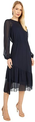 Paul Smith PS Long Sleeve Ruffle Dress (Navy) Women's Clothing