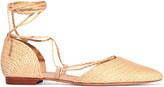 Schutz Nifertite raffia point-toe flats