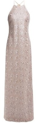 Halston Metallic Embroidered Tulle Gown