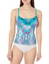 Amazon Brand - Coastal Blue Women's Swimwear Lace Up Front Tankini Top