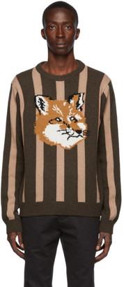 MAISON KITSUNÉ Tan and Khaki Wool Stripes Fox Head Sweater