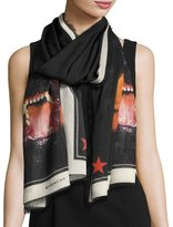 Givenchy Voile Rottweiler Dog Scarf, Black/White